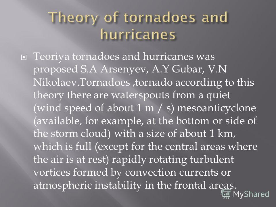 Teoriya tornadoes and hurricanes was proposed S.A Arsenyev, A.Y Gubar, V.N Nikolaev.Tornadoes,tornado according to this theory there are waterspouts from a quiet (wind speed of about 1 m / s) mesoanticyclone (available, for example, at the bottom or