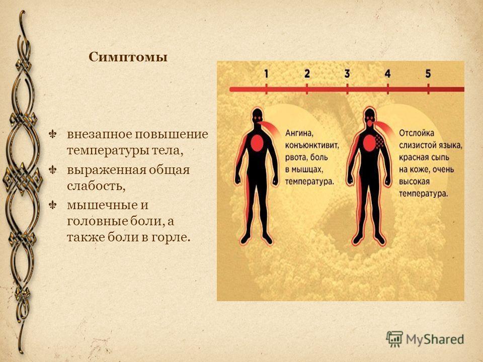 Симптомы внезапное повышение температуры тела, выраженная общая слабость, мышечные и головные боли, а также боли в горле.