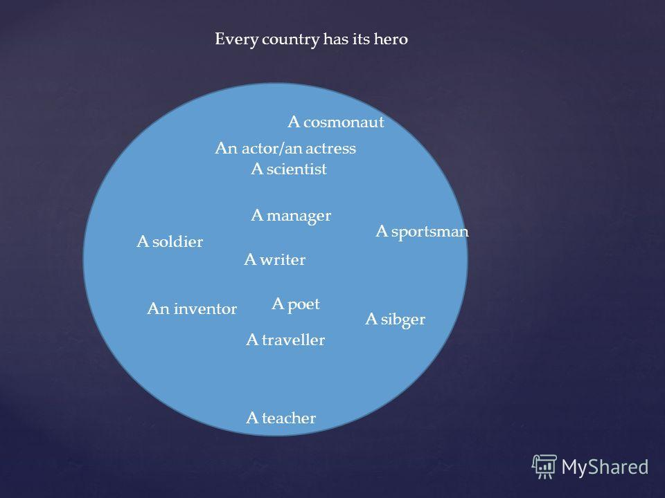 Every country has its hero A writer A poet A traveller A manager A scientist An inventor A sportsman A soldier An actor/an actress A sibger A teacher A cosmonaut