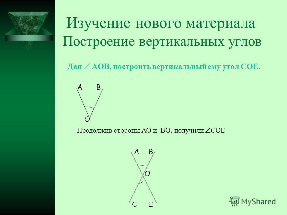 Изучение нового материала Построение вертикальных углов Дан АОВ, построить вертикальный ему угол СОЕ. А О В Продолжив стороны АО и ВО, получили СОЕ А О В СЕ