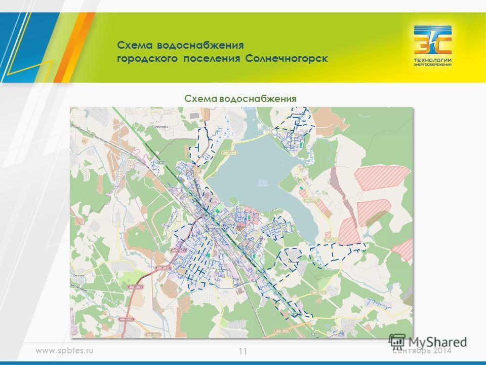 www.spbtes.ru сентябрь 2014 11 Схема водоснабжения городского поселения Солнечногорск Схема водоснабжения