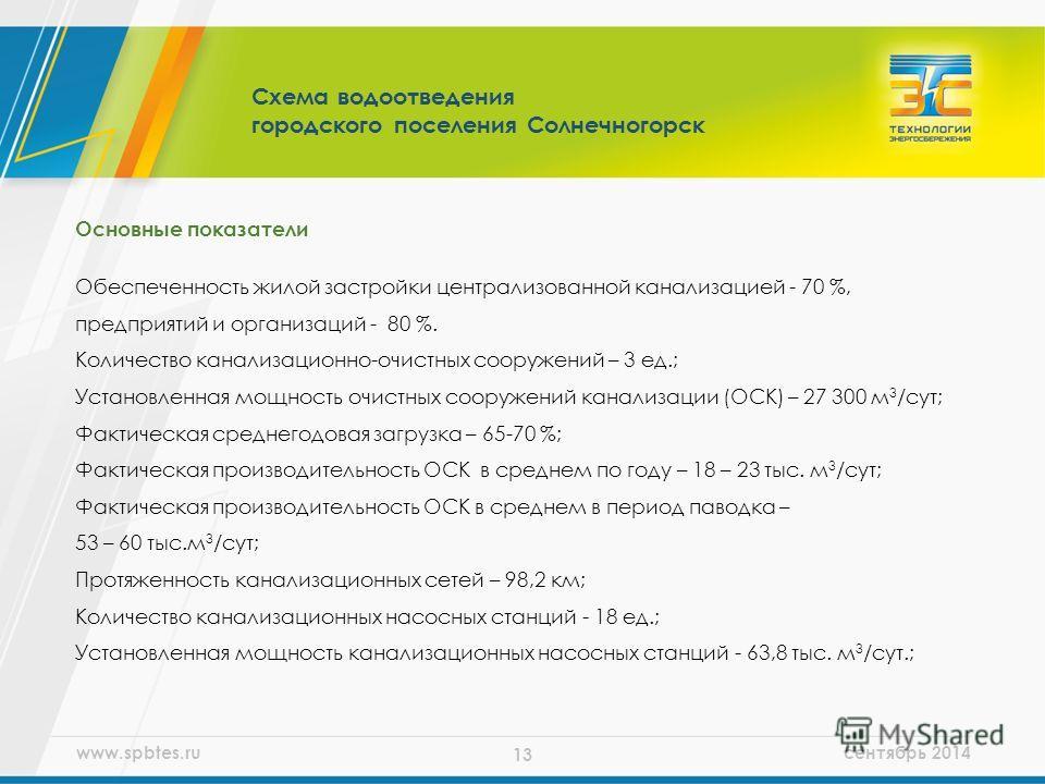 www.spbtes.ru сентябрь 2014 13 Основные показатели Обеспеченность жилой застройки централизованной канализацией - 70 %, предприятий и организаций - 80 %. Количество канализационно-очистных сооружений – 3 ед.; Установленная мощность очистных сооружени