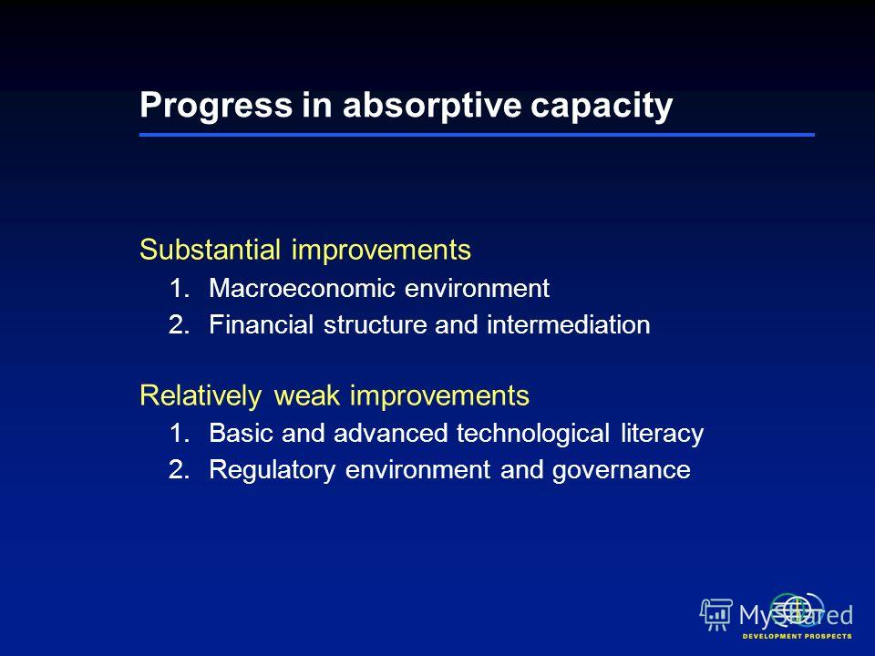 Progress in absorptive capacity Substantial improvements 1. Macroeconomic environment 2. Financial structure and intermediation Relatively weak improvements 1. Basic and advanced technological literacy 2. Regulatory environment and governance