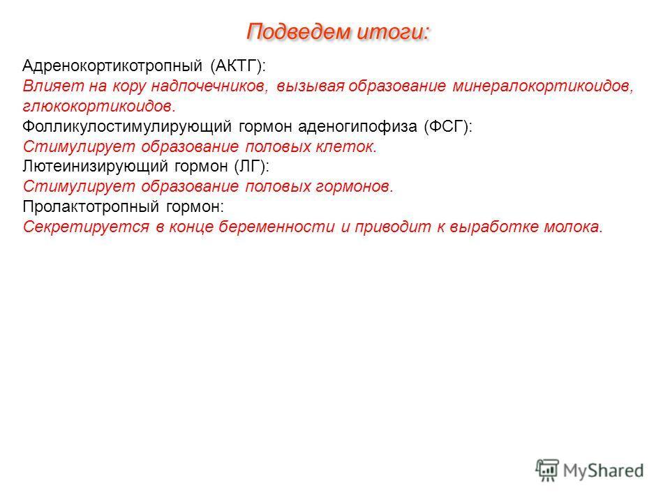 Подведем итоги: Адренокортикотропный (АКТГ): Влияет на кору надпочечников, вызывая образование минералокортикоидов, глюкокортикоидов. Фолликулостимулирующий гормон аденогипофиза (ФСГ): Стимулирует образование половых клеток. Лютеинизирующий гормон (Л