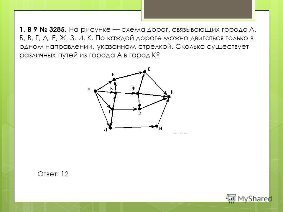 1. B 9 3285. На рисунке схема дорог, связывающих города А, Б, В, Г, Д, Е, Ж, З, И, К. По каждой дороге можно двигаться только в одном направлении, указанном стрелкой. Сколько существует различных путей из города А в город