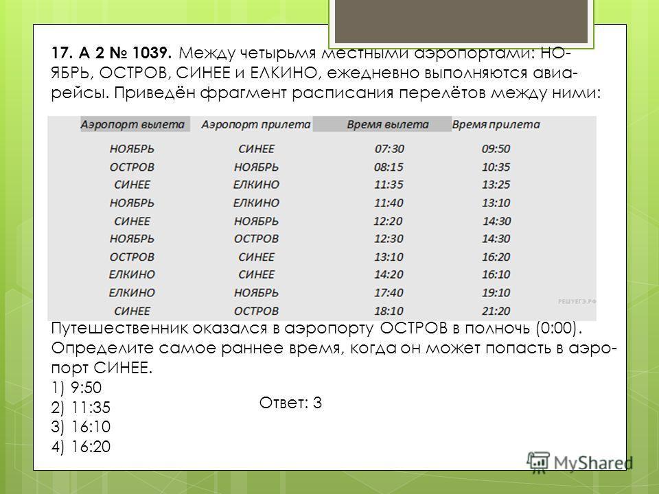 17. A 2 1039. Между четырьмя местными аэропортами: НО ЯБРЬ, ОСТРОВ, СИНЕЕ и ЕЛКИНО, ежедневно выполняются авиа рейсы. Приведён фрагмент расписания перелётов между ними: Путешественник оказался в аэропорту ОСТРОВ в пол