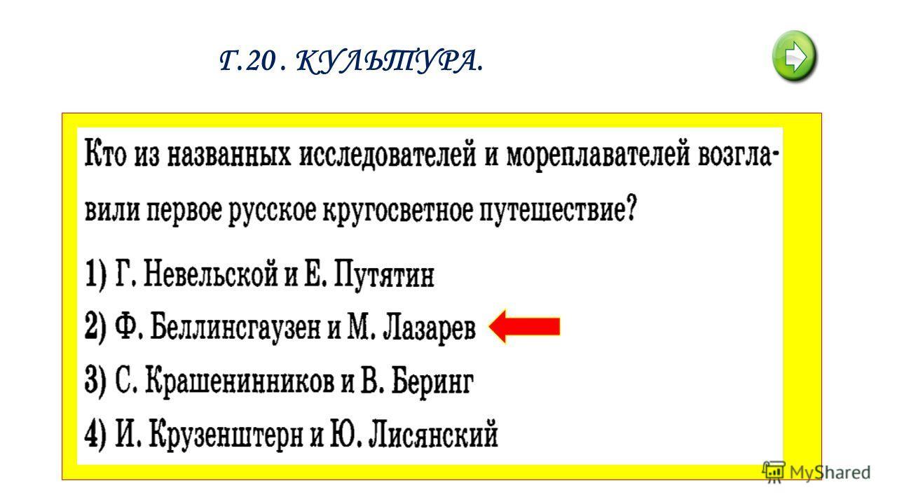 Г.20. КУЛЬТУРА.