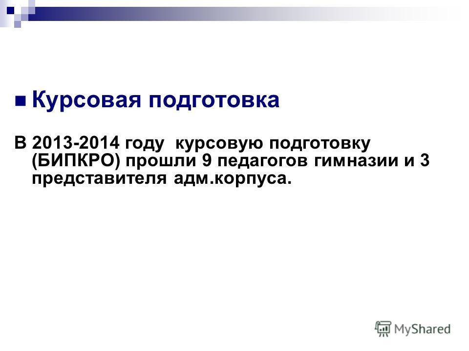 Курсовая подготовка В 2013-2014 году курсовую подготовку (БИПКРО) прошли 9 педагогов гимназии и 3 представителя адм.корпуса.