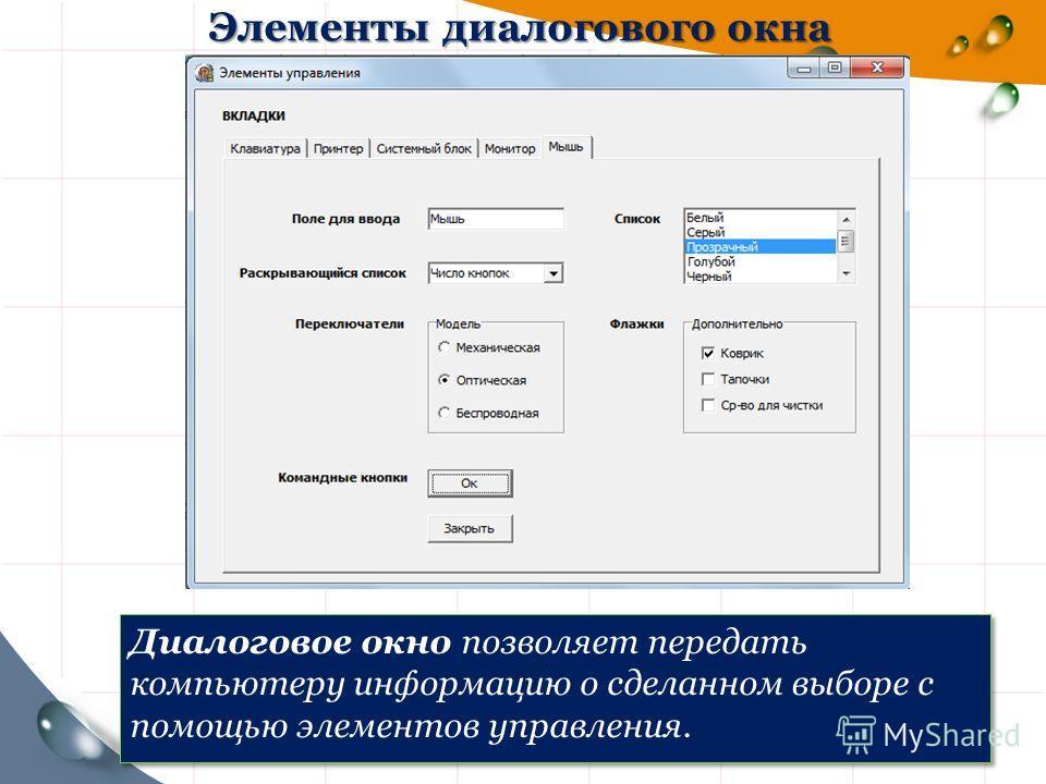 Элементы диалогового окна Диалоговое окно позволяет передать компьютеру информацию о сделанном выборе с помощью элементов управления.