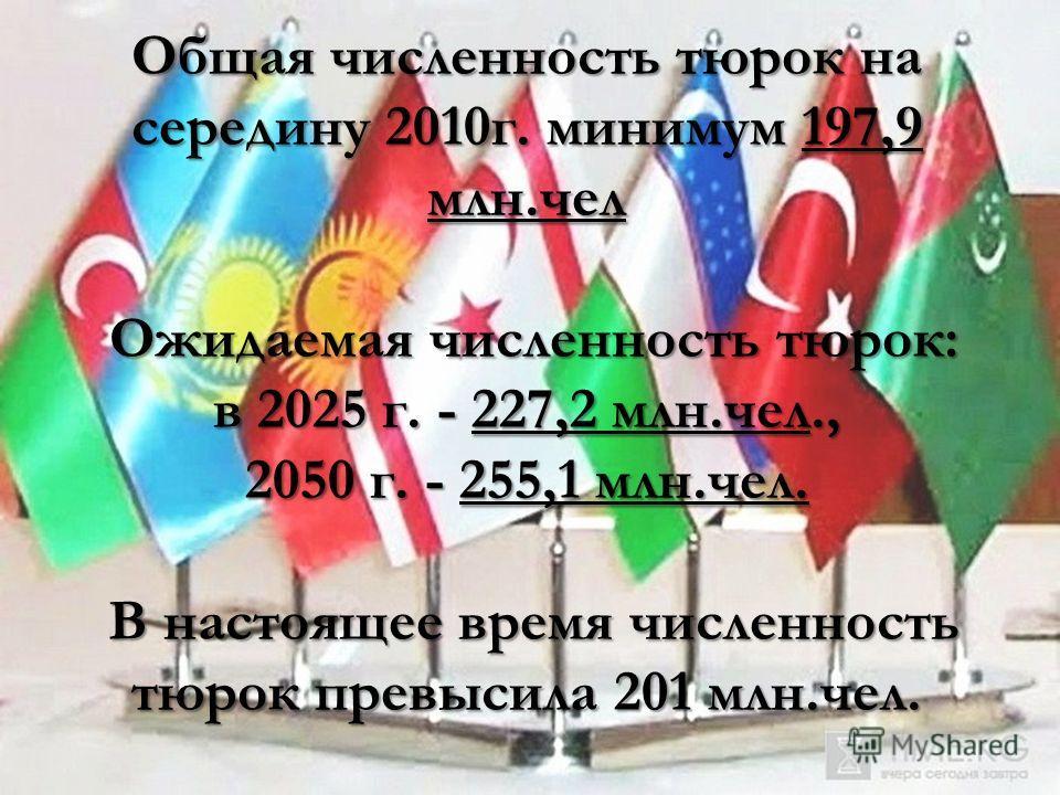 Общая численность тюрок на середину 2010 г. минимум 197,9 млн.чел Ожидаемая численность тюрок: в 2025 г. - 227,2 млн.чел., 2050 г. - 255,1 млн.чел. В настоящее время численность тюрок превысила 201 млн.чел.
