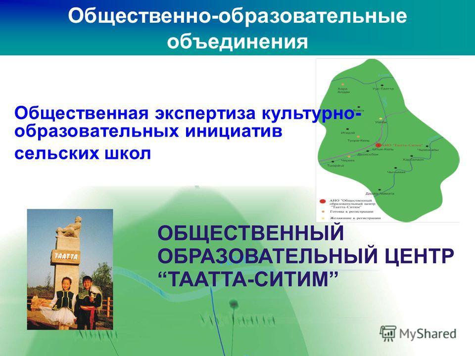 Общественно-образовательные объединения Общественная экспертиза культурно- образовательных инициатив сельских школ