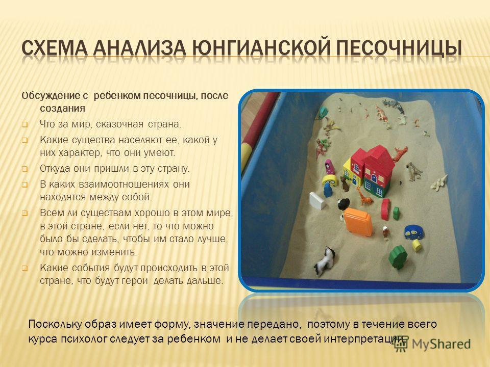 Обсуждение с ребенком песочницы, после создания Что за мир, сказочная страна. Какие существа населяют ее, какой у них характер, что они умеют. Откуда они пришли в эту страну. В каких взаимоотношениях они находятся между собой. Всем ли существам хорош
