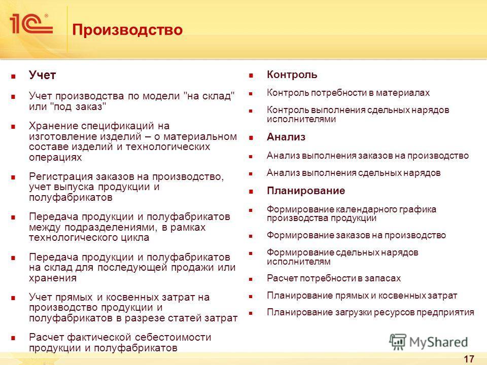 17 Производство Учет Учет производства по модели
