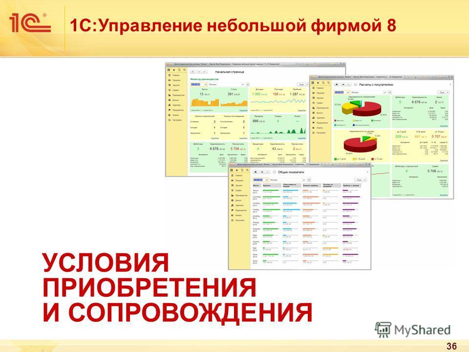 36 1С:Управление небольшой фирмой 8 УСЛОВИЯ ПРИОБРЕТЕНИЯ И СОПРОВОЖДЕНИЯ
