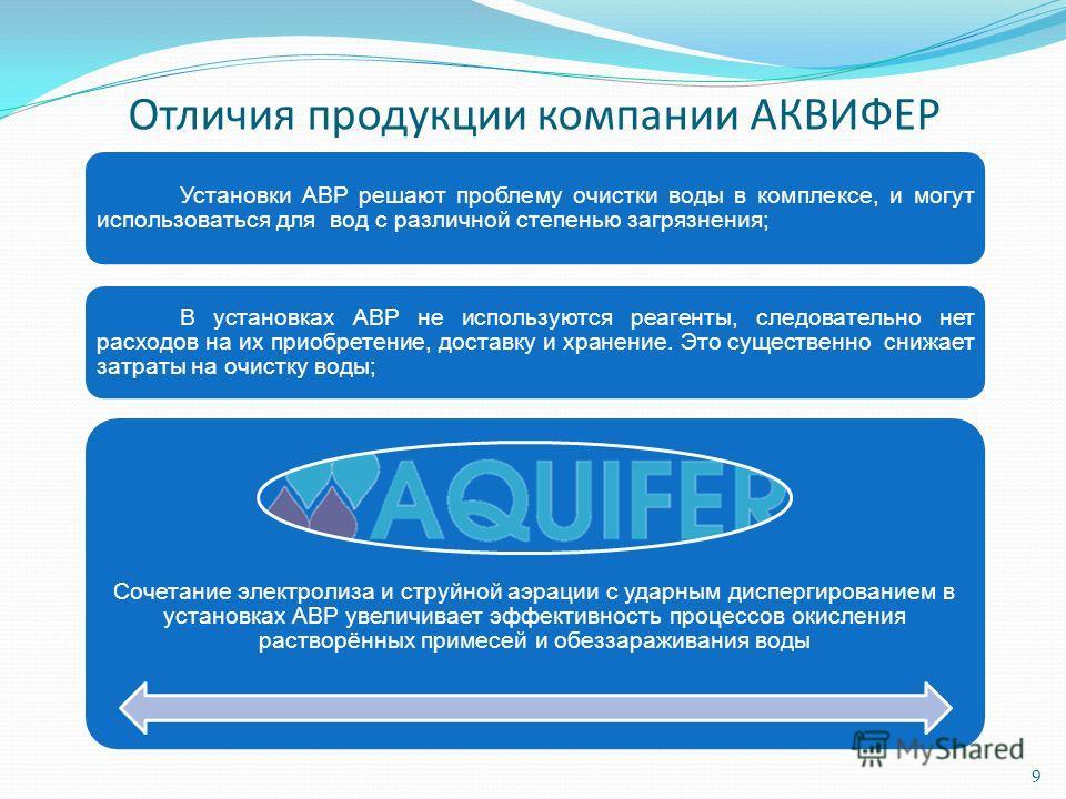 Отличия продукции компании АКВИФЕР Установки АВР решают проблему очистки воды в комплексе, и могут использоваться для вод с различной степенью загрязнения; В установках АВР не используются реагенты, следовательно нет расходов на их приобретение, дост