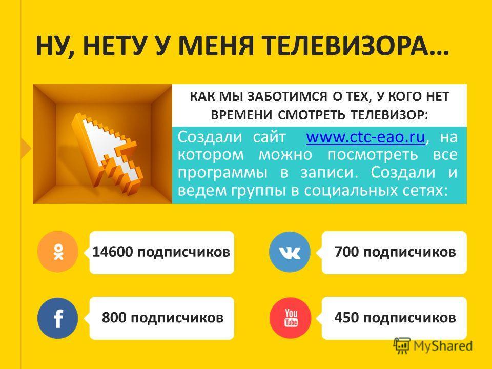 КАК МЫ ЗАБОТИМСЯ О ТЕХ, У КОГО НЕТ ВРЕМЕНИ СМОТРЕТЬ ТЕЛЕВИЗОР: Создали сайт www.ctc-eao.ru, на котором можно посмотреть все программы в записи. Создали и ведем группы в социальных сетях:www.ctc-eao.ru НУ, НЕТУ У МЕНЯ ТЕЛЕВИЗОРА… 14600 подписчиков 800