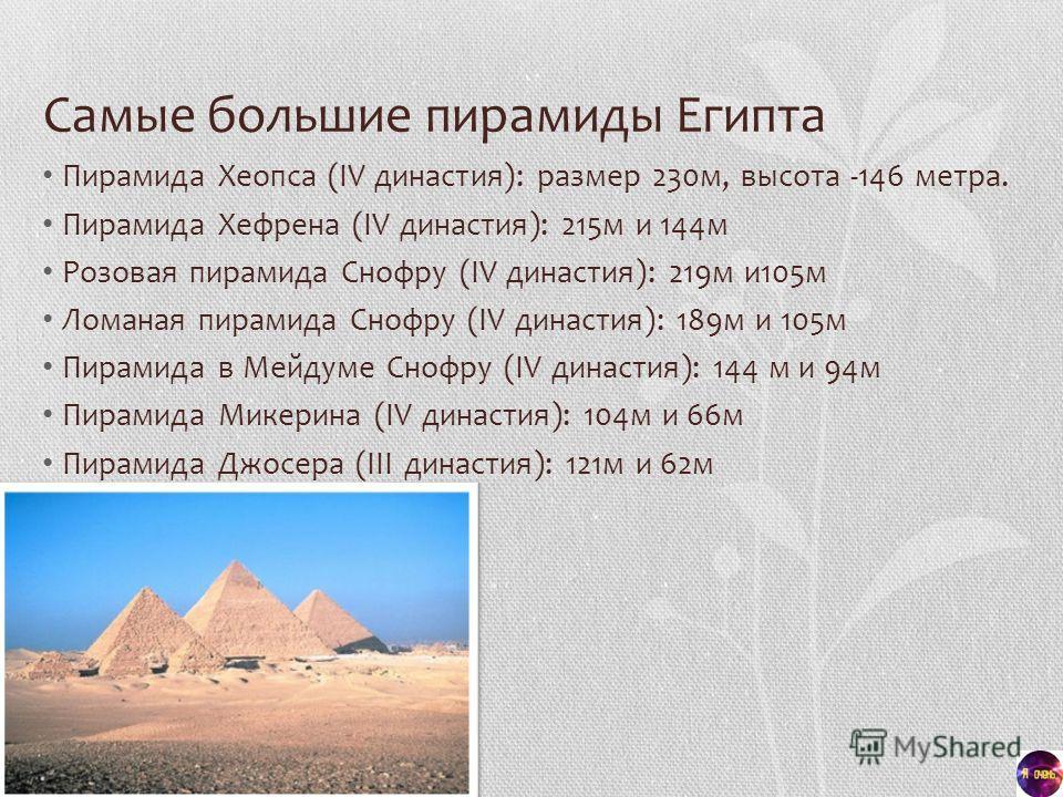 Самые большие пирамиды Египта Пирамида Хеопса (IV династия): размер 230 м, высота -146 метра. Пирамида Хефрена (IV династия): 215 м и 144 м Розовая пирамида Снофру (IV династия): 219 м и 105 м Ломаная пирамида Снофру (IV династия): 189 м и 105 м Пира
