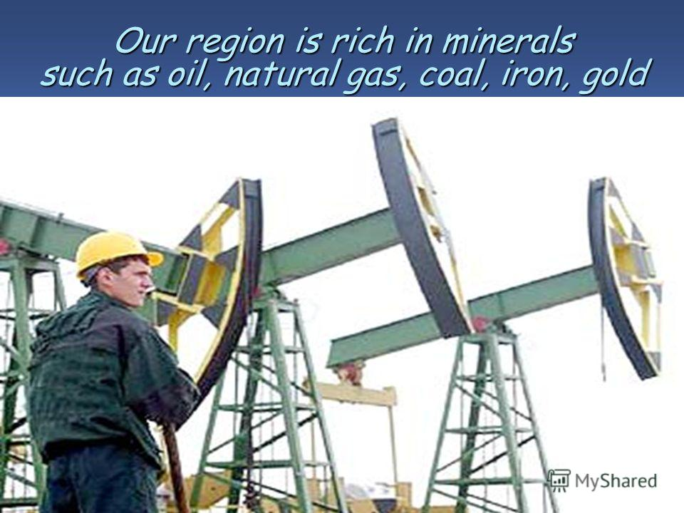 Our region is rich in minerals such as oil, natural gas, coal, iron, gold