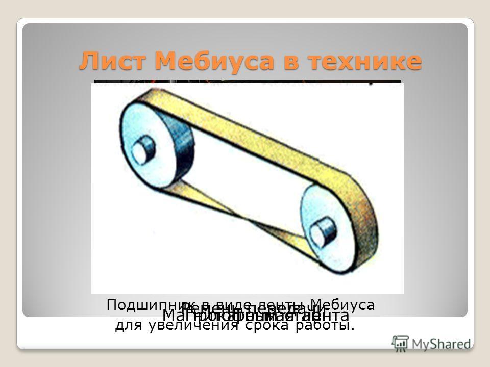 Лист Мебиуса в технике Подшипник в виде линты Мебиуса для увеличения срока работы. Прокатный стан Магнитофонная линта Ремень передачи