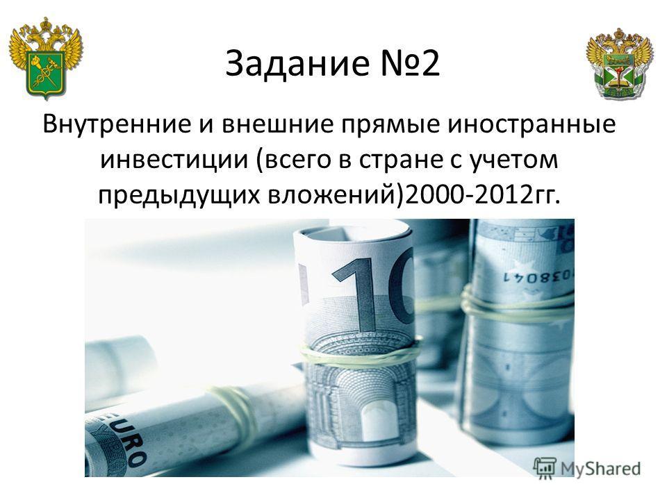 Задание 2 Внутренние и внешние прямые иностранные инвестиции (всего в стране с учетом предыдущих вложений)2000-2012 гг.