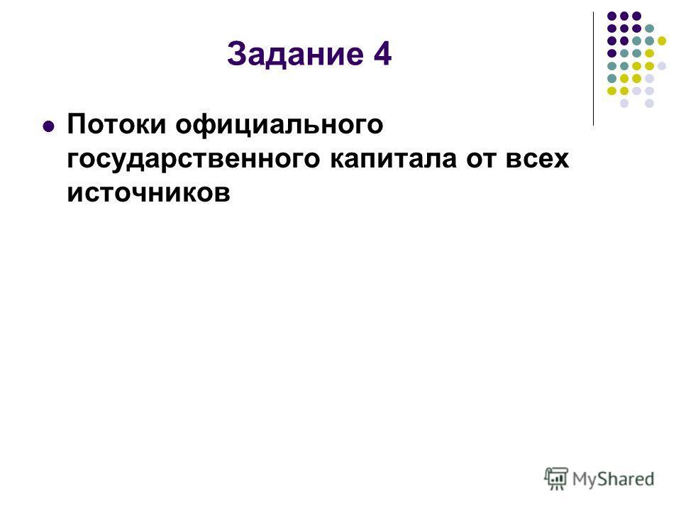 Задание 4 Потоки официального государственного капитала от всех источников