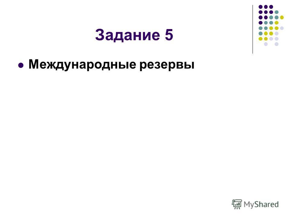 Задание 5 Международные резервы