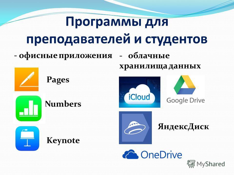 Программы для преподавателей и студентов - офисные приложения Pages Numbers Keynote - облачные хранилища данных Яндекс Диск