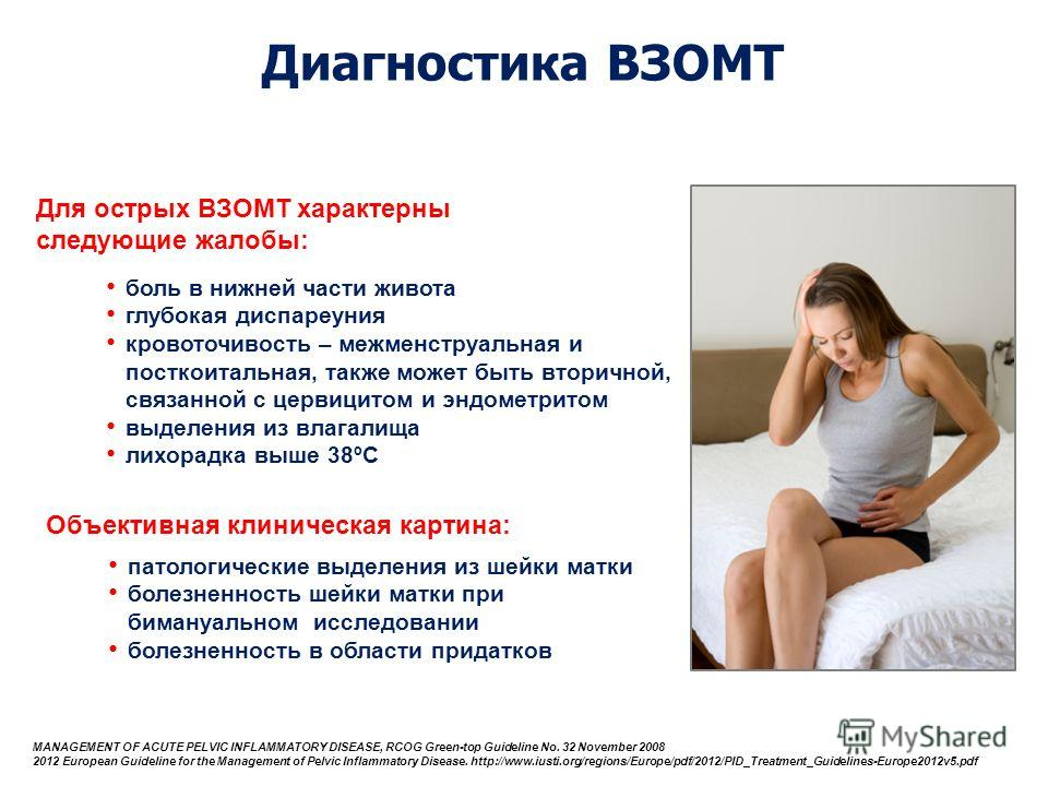 Для острых ВЗОМТ характерны следующие жалобы: MANAGEMENT OF ACUTE PELVIC INFLAMMATORY DISEASE, RCOG Green-top Guideline No. 32 November 2008 2012 European Guideline for the Management of Pelvic Inflammatory Disease. http://www.iusti.org/regions/Europ