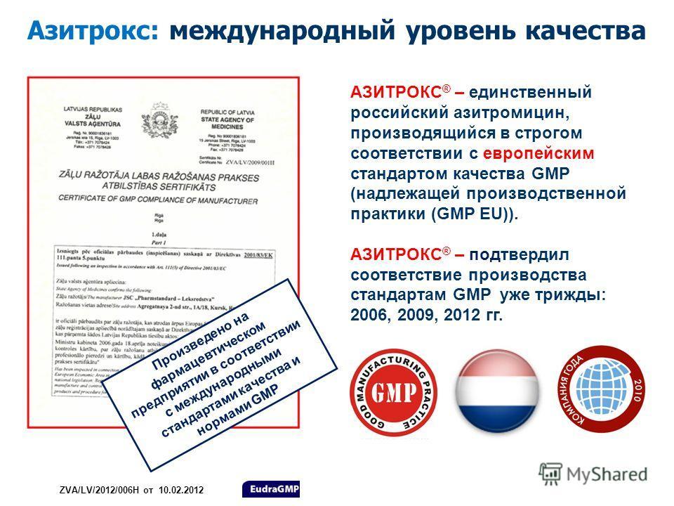 Азитрокс: международный уровень качества АЗИТРОКС ® – единственный российский азитромицин, производящийся в строгом соответствии с европейским стандартом качества GMP (надлежащей производственной практики (GMP EU)). АЗИТРОКС ® – подтвердил соответств