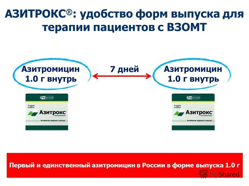 Первый и единственный азитромицин в России в форме выпуска 1.0 г Азитромицин 1.0 г внутрь Азитромицин 1.0 г внутрь 7 дней АЗИТРОКС ® : удобство форм выпуска для терапии пациентов с ВЗОМТ
