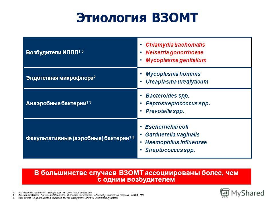 Этиология ВЗОМТ 1. PID Treatment Guidelines - Europe 2006 v5 - 2008 minor update.doc 2. Centers for Disease Control and Prevention. Guidelines for treatment of sexually transmitted diseases. MMWR. 2006 3.2010 United Kingdom National Guideline for the