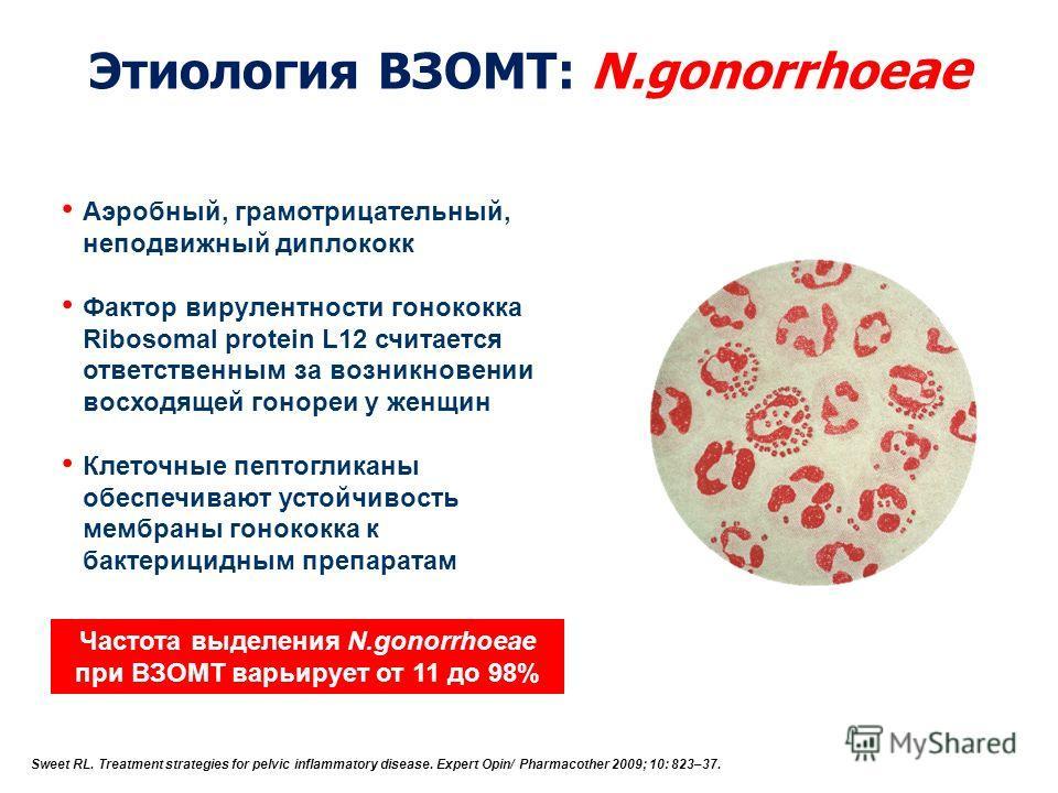 Этиология ВЗОМТ: N.gonorrhoe ae Аэробный, грамотрицательный, неподвижный диплококк Фактор вирулентности гонококка Ribosomal protein L12 считается ответственным за возникновении восходящей гонореи у женщин Клеточные пептогликаны обеспечивают устойчиво