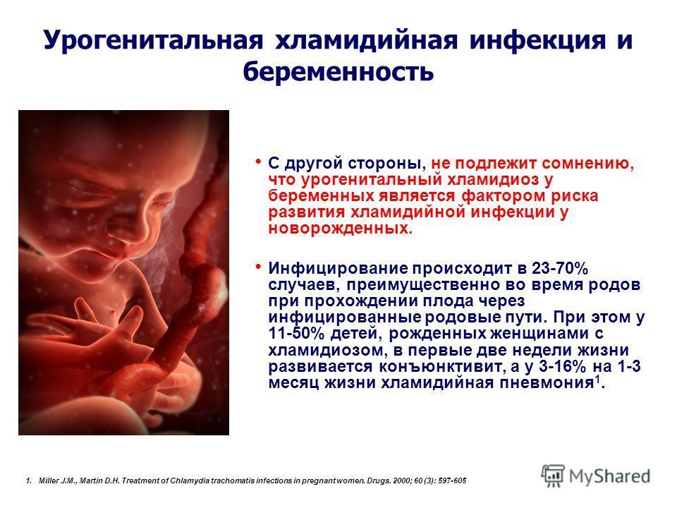 Урогенитальная хламидийная инфекция и беременность С другой стороны, не подлежит сомнению, что урогенитальный хламидиоз у беременных является фактором риска развития хламидийной инфекции у новорожденных. Инфицирование происходит в 23-70% случаев, пре