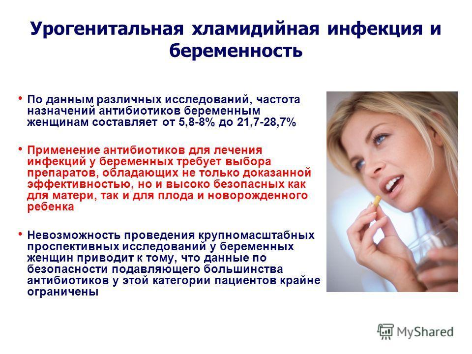 По данным различных исследований, частота назначений антибиотиков беременным женщинам составляет от 5,8-8% до 21,7-28,7% Применение антибиотиков для лечения инфекций у беременных требует выбора препаратов, обладающих не только доказанной эффективност