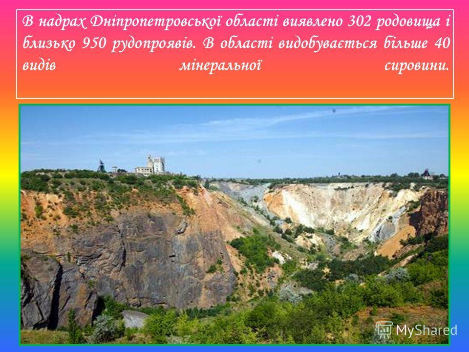 В недрах Дніпропетровської області выявлено 302 родовища і близько 950 рудопроявів. В області видобувається більше 40 видів мінеральної сировини.