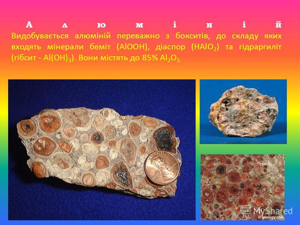 А л ю м і н і й Видобувається алюміній переважно з бокситів, до складу яких входять мінерали беміт (AlOOH), діаспор (HAlO 2 ) та гідраргиліт (гібсит - Al(OH) 3 ). Вони містять до 85% Al 2 O 3.