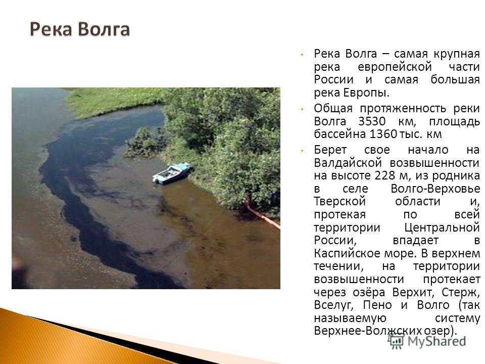 Река Волга – самая крупная река европейской части России и самая большая река Европы. Общая протяженность реки Волга 3530 км, площадь бассейна 1360 тыс. км Берет свое начало на Валдайской возвышенности на высоте 228 м, из родника в селе Волго - Верхо