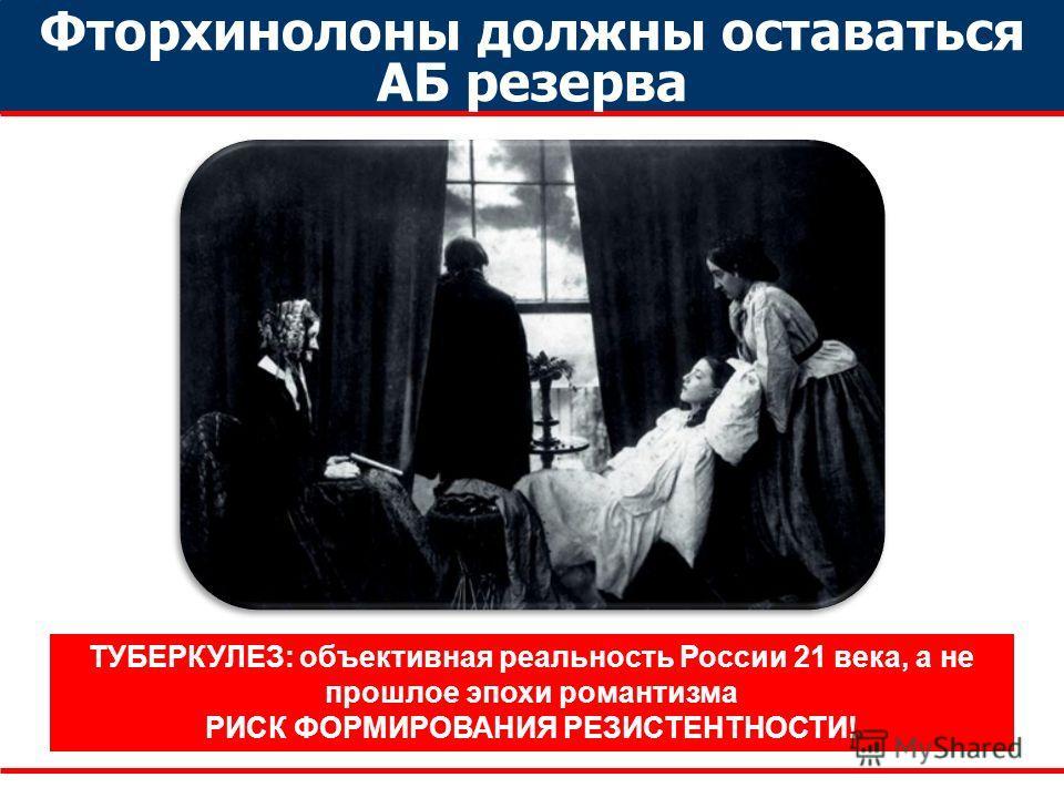 Фторхинолоны должны оставаться АБ резерва ТУБЕРКУЛЕЗ: объективная реальность России 21 века, а не прошлое эпохи романтизма РИСК ФОРМИРОВАНИЯ РЕЗИСТЕНТНОСТИ!
