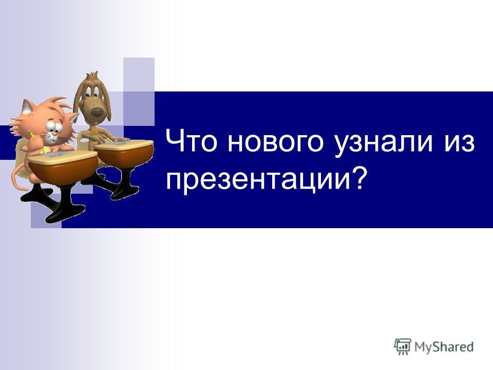 Что нового узнали из презентации?