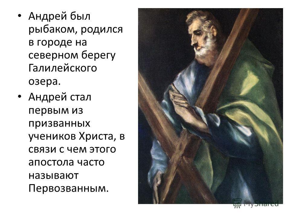 Андрей был рыбаком, родился в городе на северном берегу Галилейского озера. Андрей стал первым из призванных учеников Христа, в связи с чем этого апостола часто называют Первозванным.