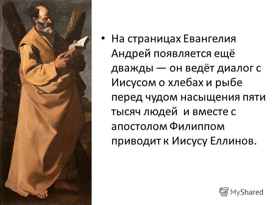 На страницах Евангелия Андрей появляется ещё дважды он ведёт диалог с Иисусом о хлебах и рыбе перед чудом насыщения пяти тысяч людей и вместе с апостолом Филиппом приводит к Иисусу Еллинов.