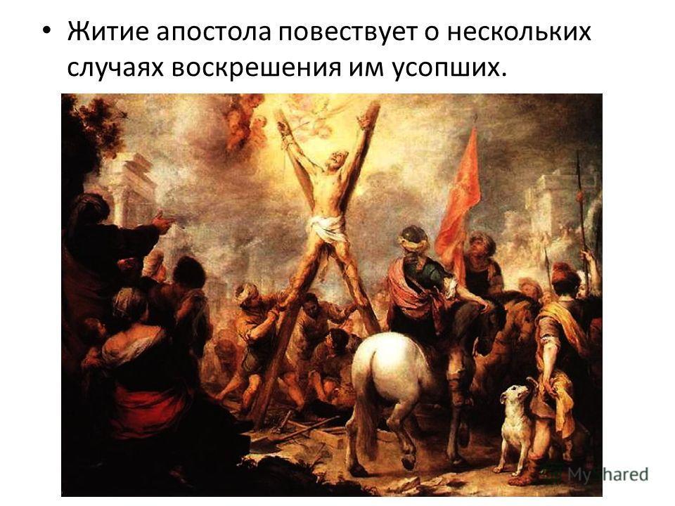 Житие апостола повествует о нескольких случаях воскрешения им усопших.