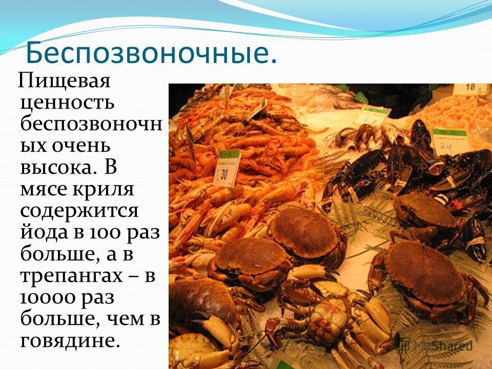 Беспозвоночные. Пищевая ценность беспозвоночных очень высока. В мясе криля содержится йода в 100 раз больше, а в трепангах – в 10000 раз больше, чем в говядине.