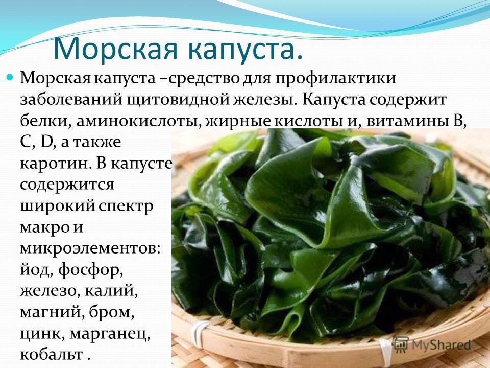 Морская капуста. Морская капуста –средство для профилактики заболеваний щитовидной железы. Капуста содержит белки, аминокислоты, жирные кислоты и, витамины В, С, D, а также каротин. В капусте содержится широкий спектр макро и микроэлементов: йод, фос