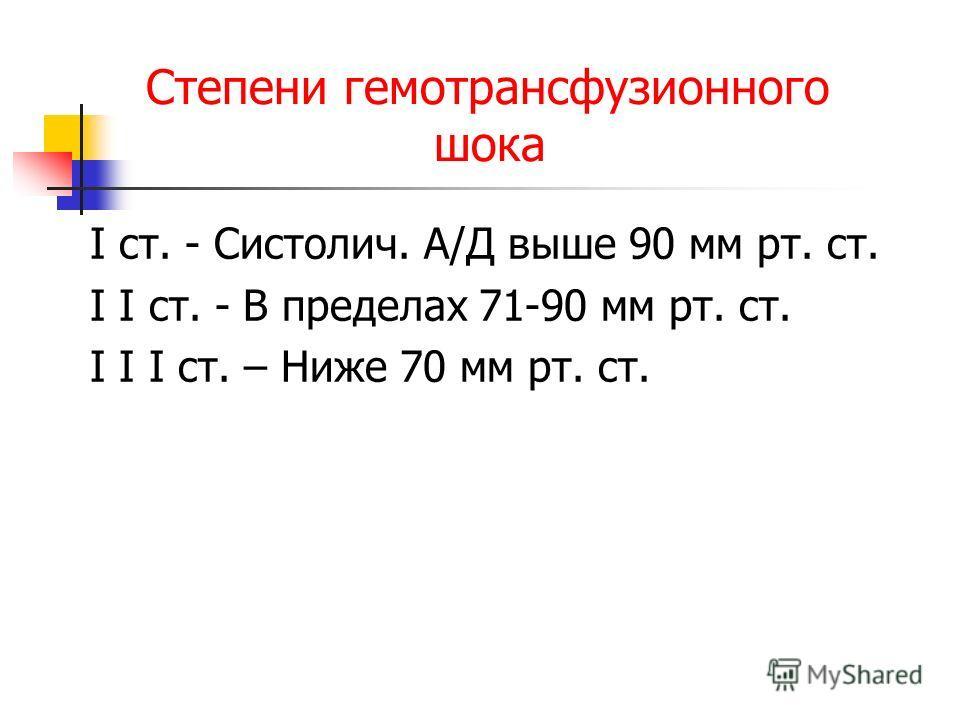 Степени гемотрансфузионного шока I ст. - Систолич. А/Д выше 90 мм рт. ст. I I ст. - В пределах 71-90 мм рт. ст. I I I ст. – Ниже 70 мм рт. ст.