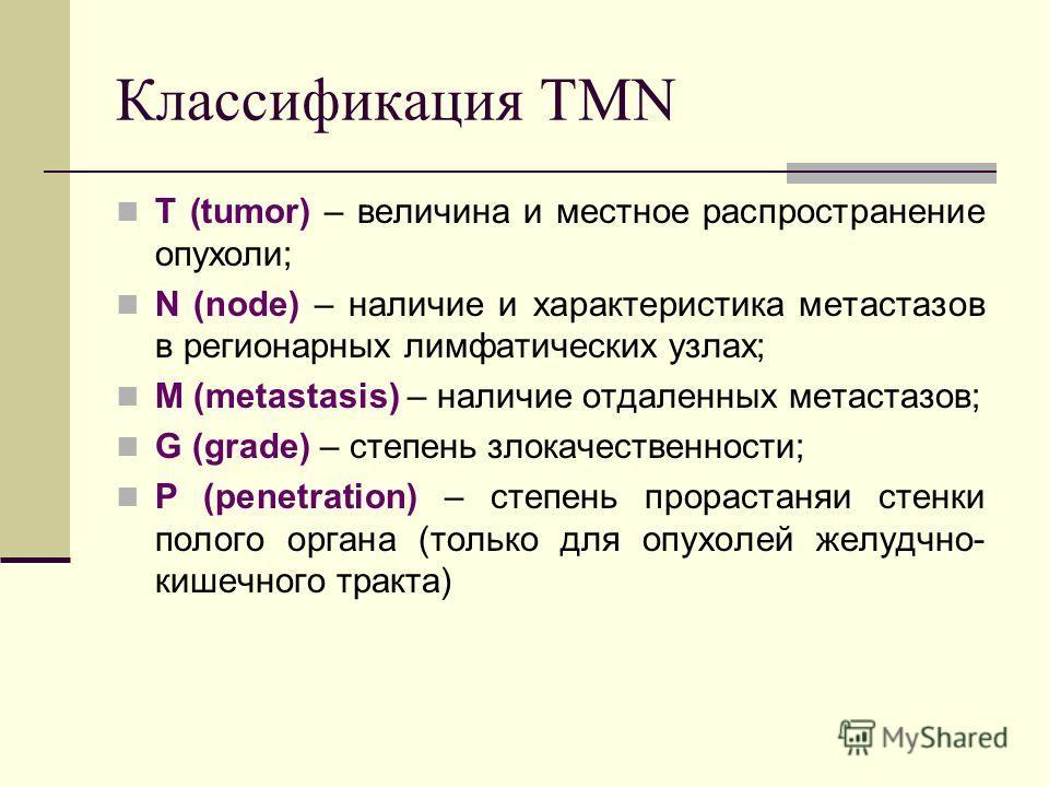 Классификация TMN T (tumor) – величина и местное распространение опухоли; N (node) – наличие и характеристика метастазов в регионарных лимфатических узлах; M (metastasis) – наличие отдаленных метастазов; G (grade) – степень злокачественности; P (pene