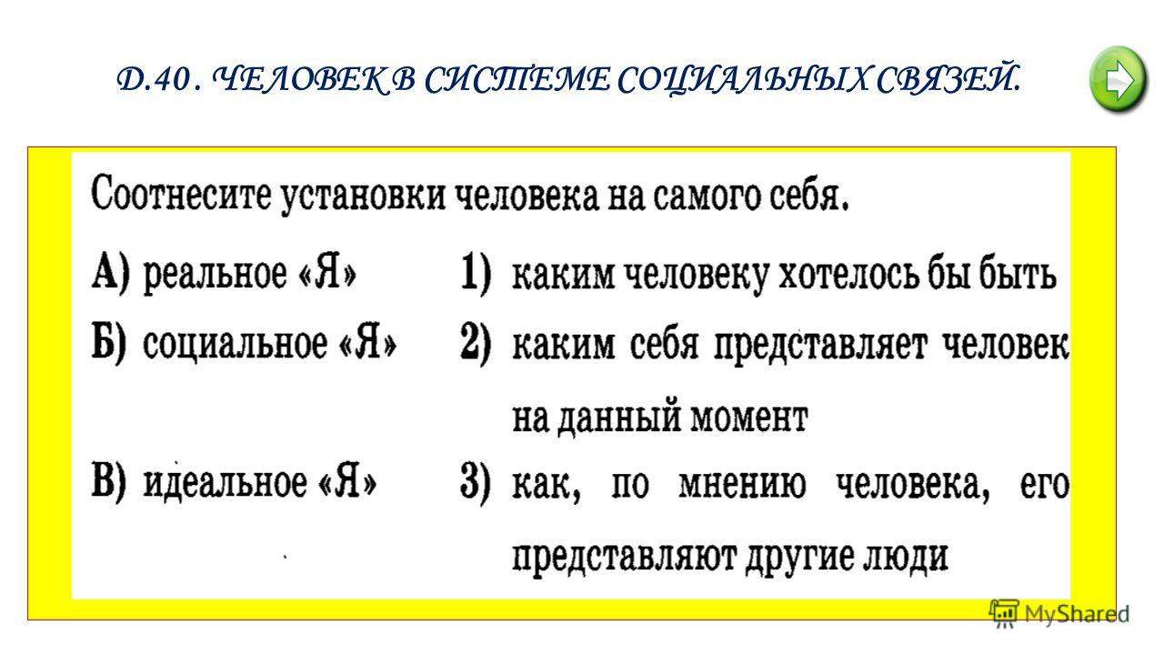 Д.40. ЧЕЛОВЕК В СИСТЕМЕ СОЦИАЛЬНЫХ СВЯЗЕЙ.