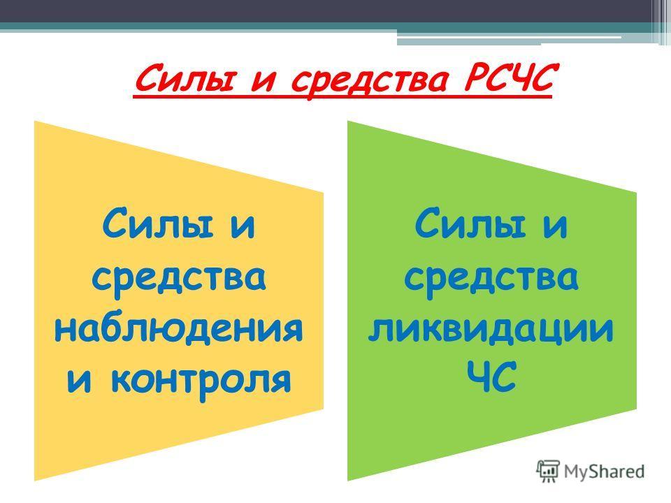 Силы и средства РСЧС Силы и средства наблюдения и контроля Силы и средства ликвидации ЧС