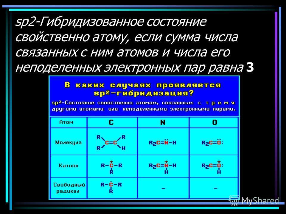 sp2-Гибридизованное состояние свойственно атому, если сумма числа связанных с ним атомов и числа его неподеленных электронных пар равна 3
