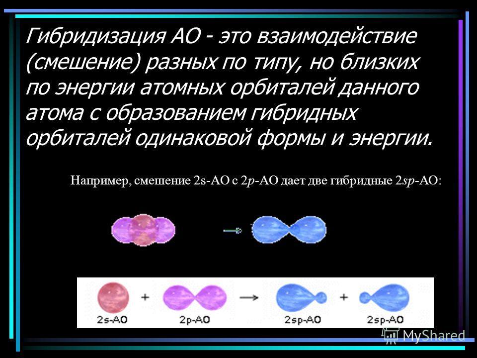 Гибридизация АО - это взаимодействие (смешение) разных по типу, но близких по энергии атомных орбиталей данного атома с образованием гибридных орбиталей одинаковой формы и энергии. Например, смешение 2s-АО с 2p-АО дает две гибридные 2sp-АО: